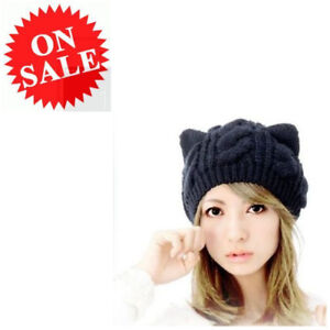 7ecee607d24 Slouchy Cap For Women Cute Cat Ear Design Stretchy Warm Cable Knit ...