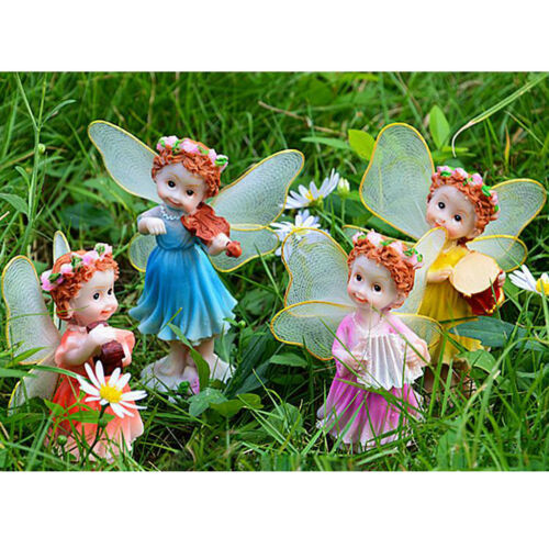 4x Outdoor Scenery Decorations Resin Flower Fairy Figurine Sculpture Statues