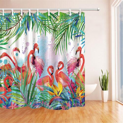 Tropical flowers Flamingo Waterproof Bathroom Shower Curtain Floor Mat