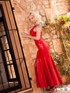 30e6a74982e3 Das Bild wird geladen Lederkleid-Leder-Kleid-Rot-Neckholder-Knoechellang- Massanfertigung
