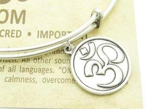Wind-and-Fire-Om-Silver-Charm-Wire-Bangle-Stackable-Bangle-Bracelet-USA-Gift