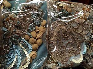 Assorted-BEADS-APPLIQUES-PANEL-Fringe-pieces-Trim-CARAMEL-BLUE-1-grab-bag