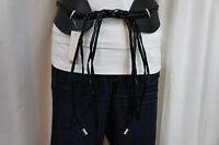 American Rag Belt Sz L / Xl Classic Black Combohippie Fringe Front Tie Belt