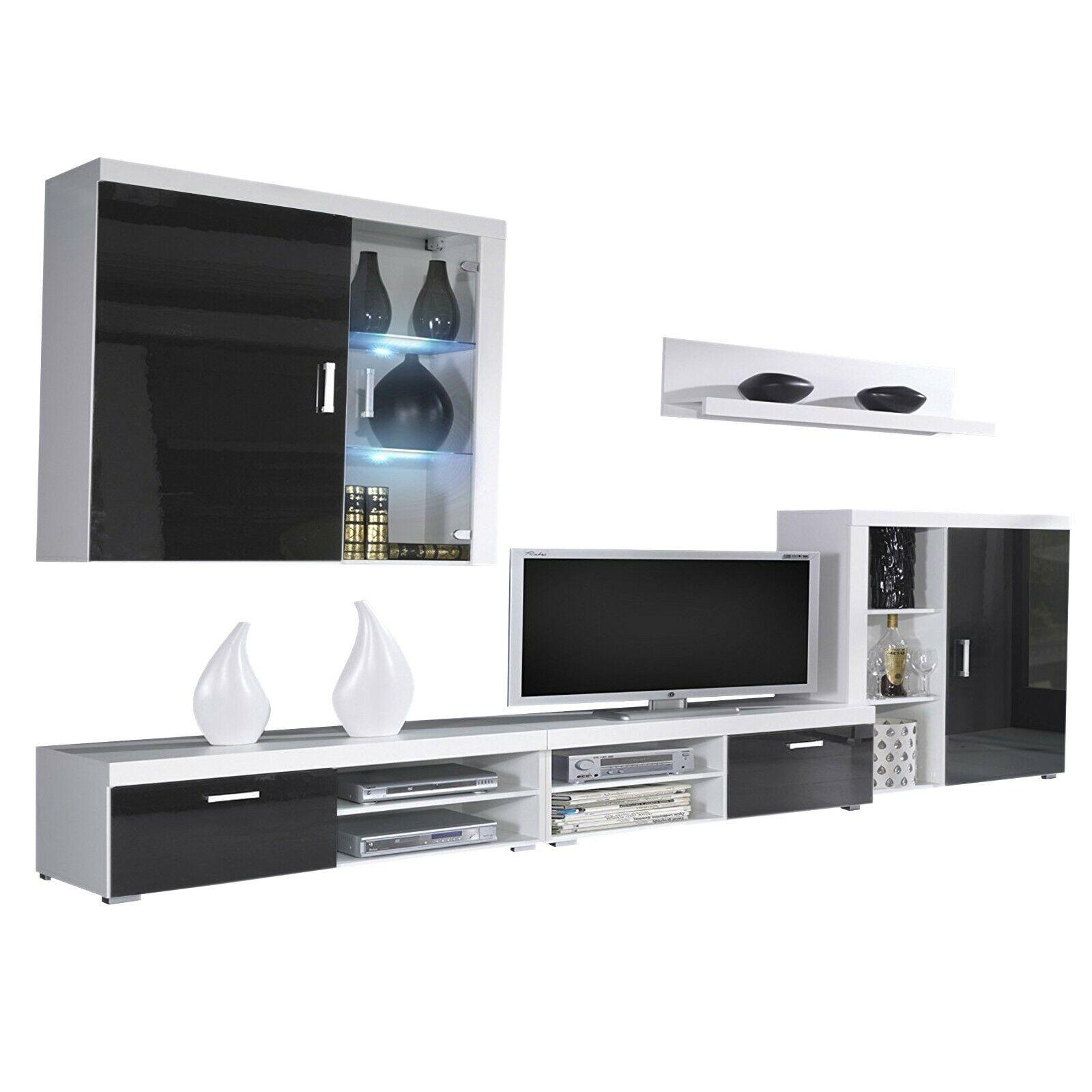 Mueble comedor salon moderno, vitrina con Leds, Negro Brillo y Blanco Mate