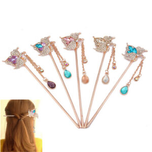 Women-Metal-Rhinestone-Colorful-Flower-Hair-Stick-Chopsticks-Hairpin-Chignon-Pin