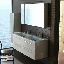 Waschbecken Doppelwaschbecken Weiss Badmöbel Unterschrank Waschtisch