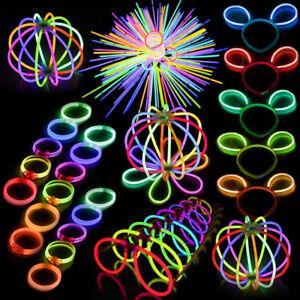 """100//1000 8/"""" Glow Sticks Bracelets Necklaces Neon Colors Party Favors Disco Rave"""