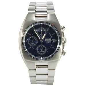 Seiko-SNA333-P1-Silver-Dark-Blue-Dial-Chronograph-Alarm-Men-039-s-Quartz-Watch