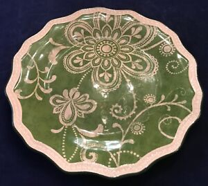 Pier1-Ironstone-MARIBETH-8-1-2-034-Scalloped-Salad-Appetizer-Plate-In-Green-EUC