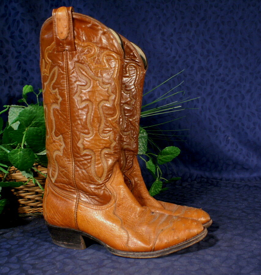 Handsome MONTANA Saddle Smooth Ostrich Cowboy Boot 9D