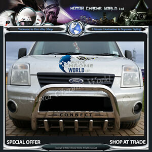 FORD-TRANSIT-TOURNEO-CONNECT-BULL-BAR-CHROME-AXLE-NUDE-A-BAR-LOGO-2002-2013-NEW