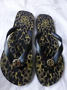 ca44bfbda783 TORY BURCH Leopard Flip Flop Sandals Black Size 9 New Without Box