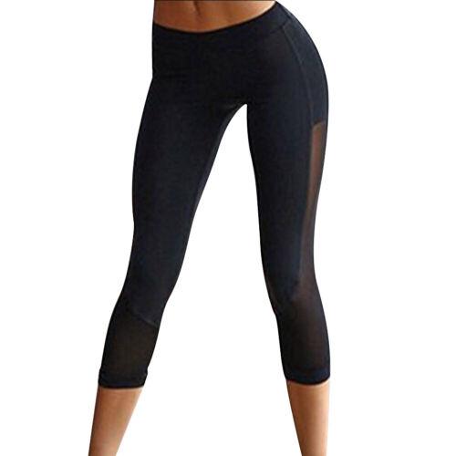 Femmes Pantalons Taille Haute Yoga Sports Casual Leggings Maille Pantacourt Neuf