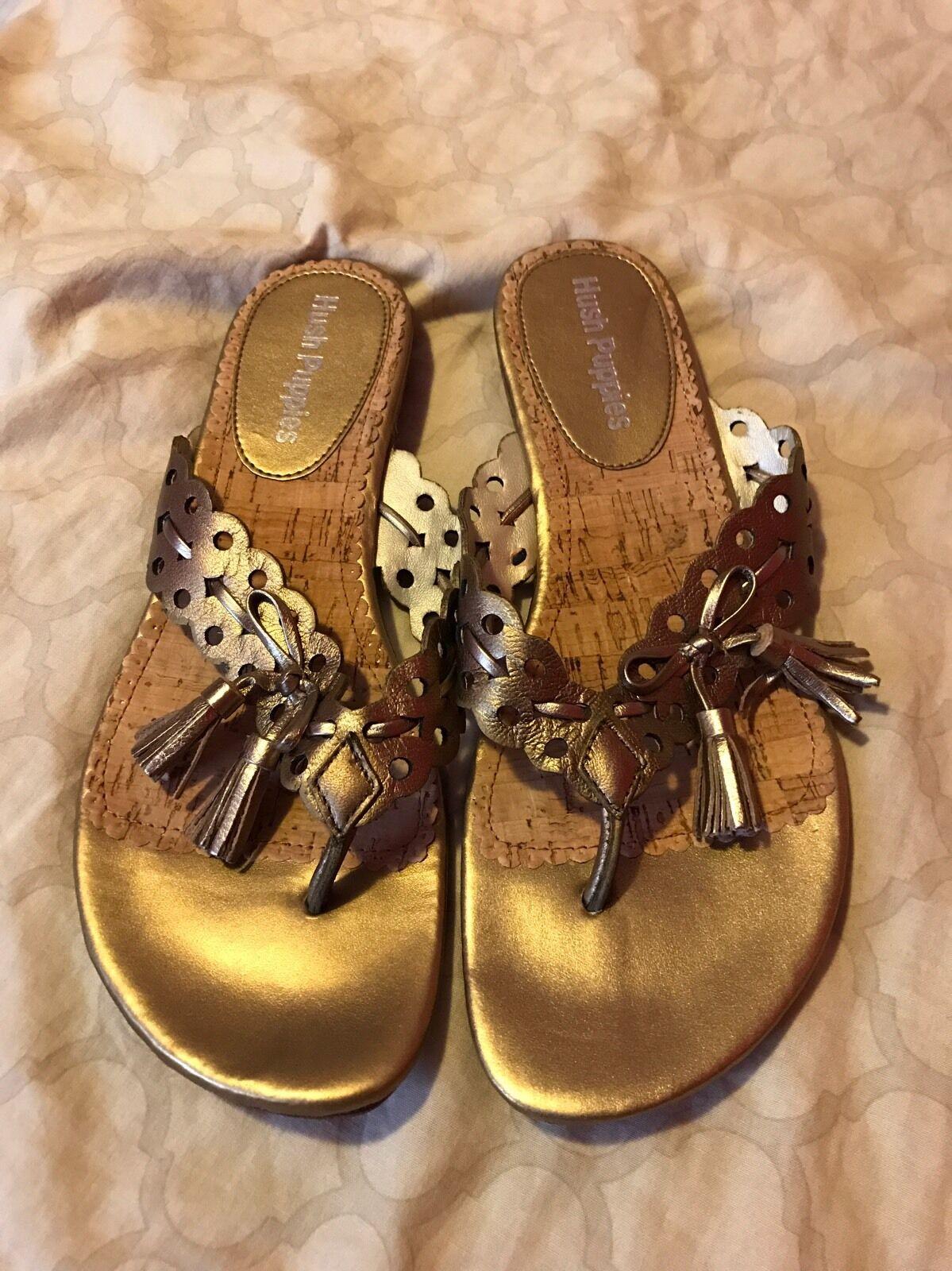 Hush 7M Puppies Women Shoes Size 7M Hush Brown Leather Flip Flops (box) 7e39a9
