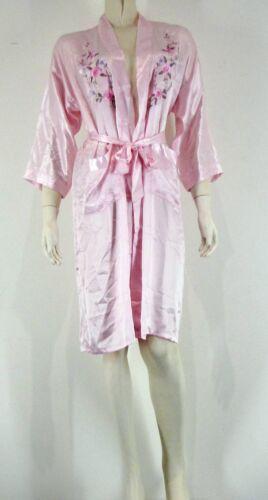 Silk Blend Mini Robe Slip PJ/'s Delicate Flowers Pastels Sleepwear Bath Gown