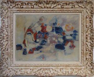 Ancien-tableau-huile-sur-toile-composition-abstraite-signe