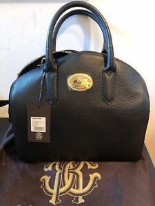 cheap for discount b3f42 c1dcc Details about NEW Roberto Cavalli Black Dome Bag Stampa Dollaro Tote  Satchel Leather Purse