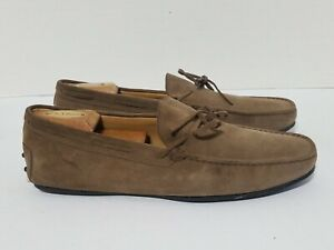 Tod-039-s-Laced-Suede-Driving-Shoes-Tan-Brown-size-11