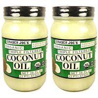 Trader Joe's Organic Triple Filtered Coconut Oil 16 Oz Jar - 2 Pack - Sealed