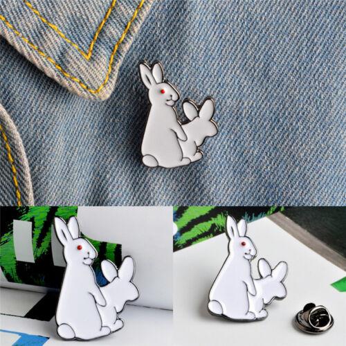 Cartoon niedlich zwei weiße Kaninchen böse Brosche Pins Jeans Kleidung SchmucPD