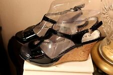 RAMPAGE WOMEN'S  WEDGE SANDALS SIZE-6,5 M BLACK PATENT LEATHER NWOB COMFY!