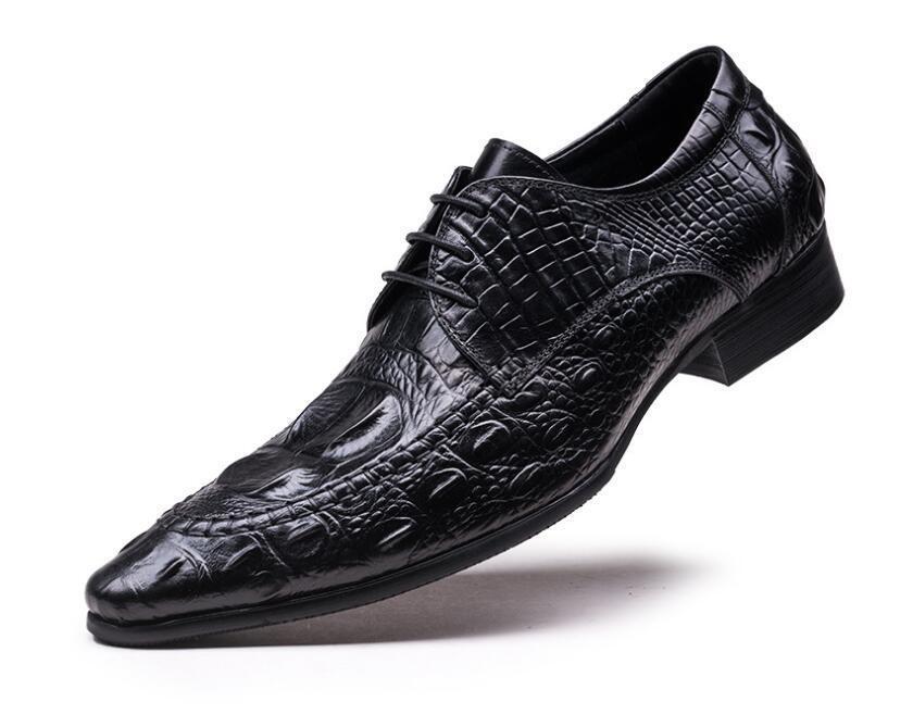 Uomo Fashion British Pointy Toe Lace Up Oxford Scarpe Business Pelle Scarpe