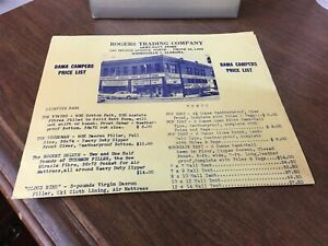 Details about 1960's Rogers Trading Company Bama Campers Price List  Birmingham, Alabama