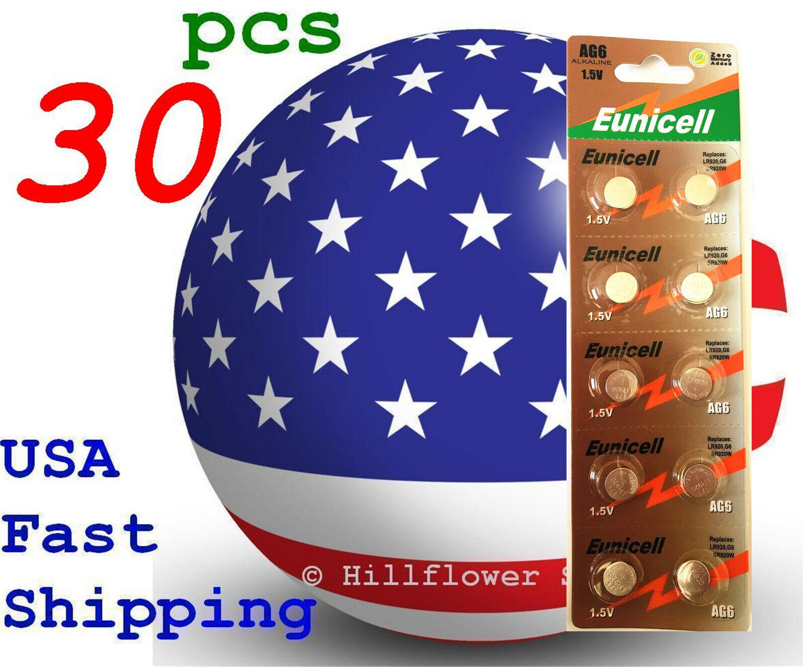 30 pcs AG6 LR69 LR920 G6 371A 370 171 Card 1.5V 0% Hg Alkaline Battery