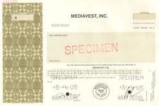 Mediavest, Inc. Specimen New Jersey old stock certificate share