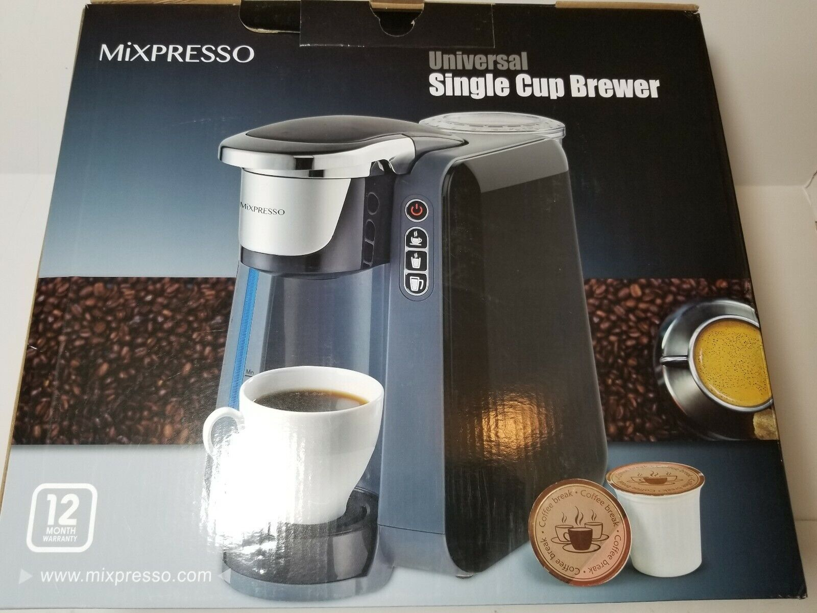 Single Cup Coffee Maker - K Compatible - by Mixpresso (Dark Grey)