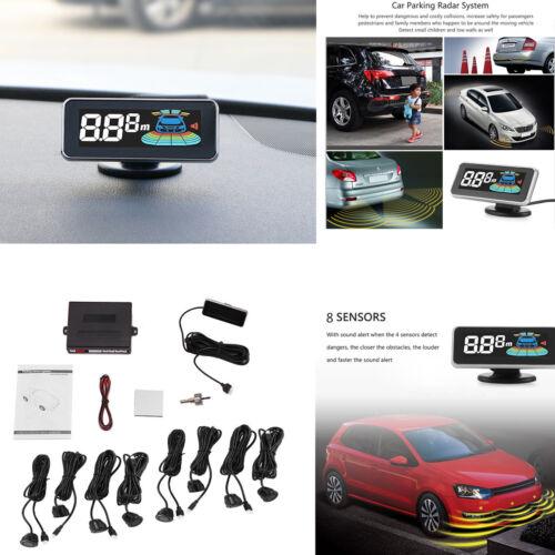 8 Parking Sensor Car Rearview Reverse Backup Front Rear LCD Display Radar 12V