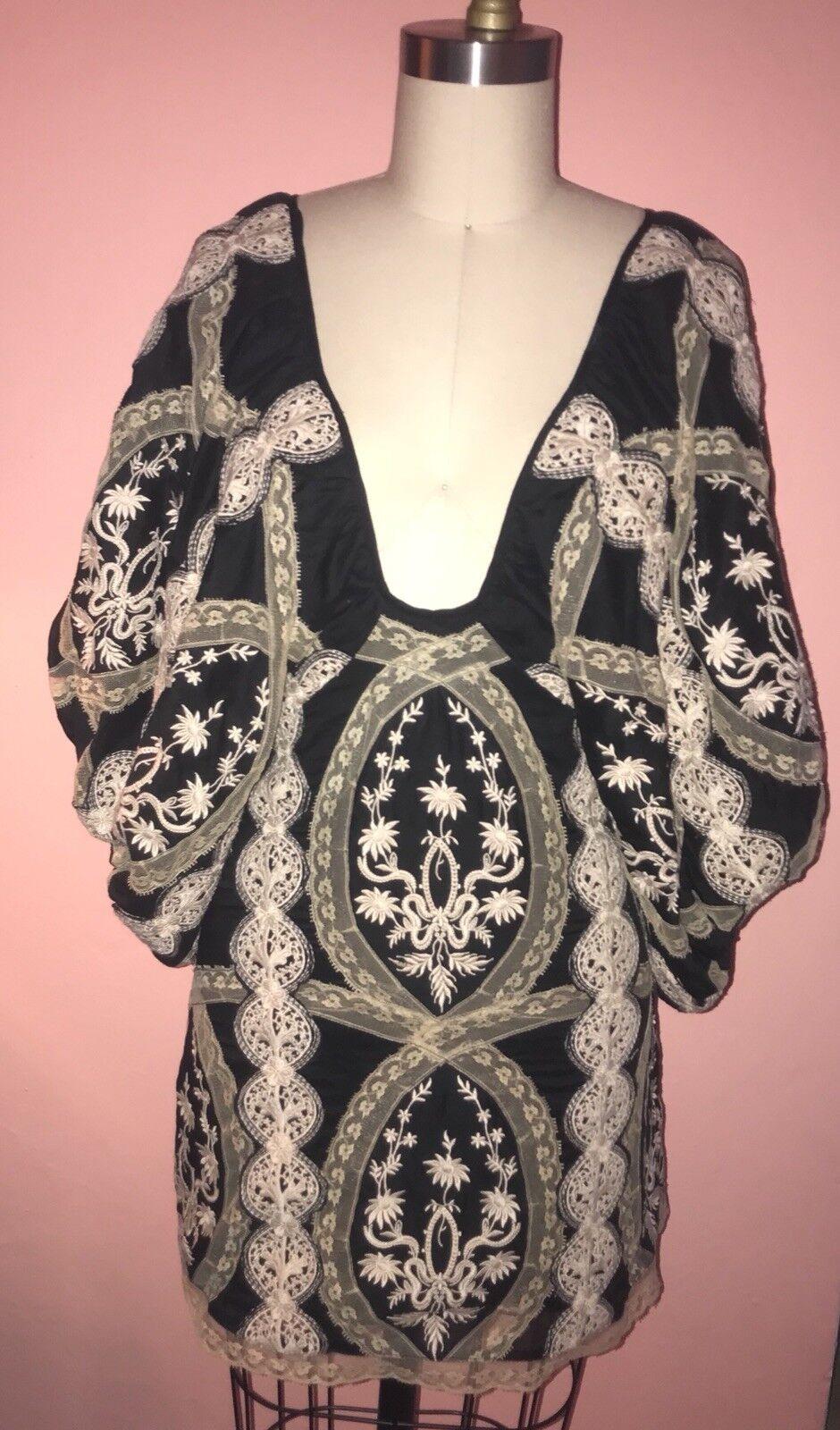 Sheri Bodell Boho Charcoal & Cream Hand Embroiderot Balloon Sleeve Dress Sz. XS