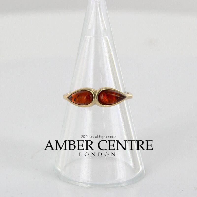 ITALIAN Made elegante moderno Baltic Amber Anello Anello Anello in oro 9 KT-GR0101 0e51a3