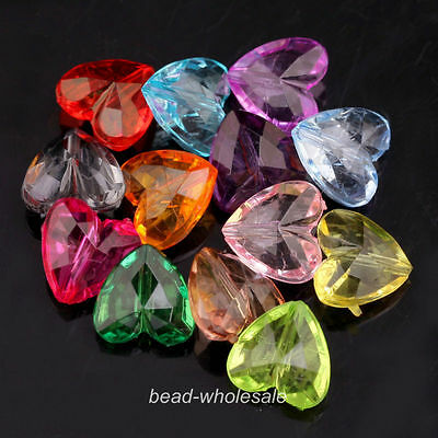 50pcs Lot Mixed Color Clear Acrylic Spacer Beads New Faceted Heart Shape 12/15mm