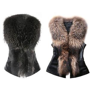 sexy femmes sans manches fausse fourrure vestes cuir pu. Black Bedroom Furniture Sets. Home Design Ideas
