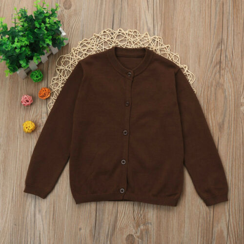 Toddler Kid Boy Girl Clothes Knitted Solid Sweater Cardigan Overcoat Tops Blouse