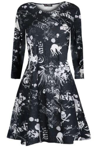 Girls Kids Children Halloween Costume Scary Flared Skull Crew Spooky Swing Dress