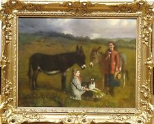 Fine 19th Century English Children Dog & Donkeys Landscape Antique Oil Painting