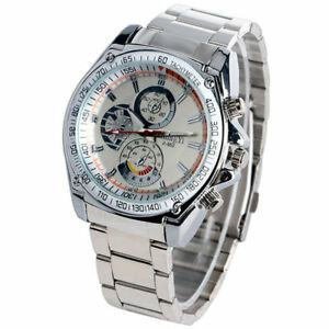 Fashion-Sport-Men-039-s-Stainless-Steel-Case-Leather-Band-Quartz-Analog-Wrist-Watch