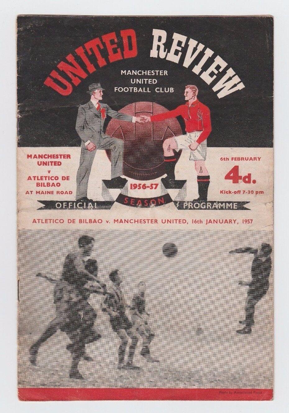 Orig.PRG   EC 1  1956 57  MANCHESTER UNITED - ATLETICO BILBAO  1 4 FINALE    TOP