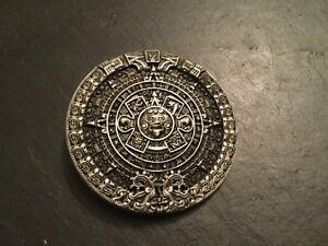 nouveau style ecbf9 5b436 Détails sur MAYAN Calendrier Rond Nouveau Boucle de ceinture en métal  argenté étain Maya Aztèque- afficher le titre d'origine