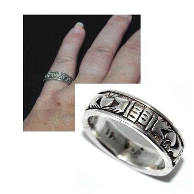 Fedele Bague Anneau En Argent Massif 925 Claddagh T 50 Bijou Ring Belle Arti