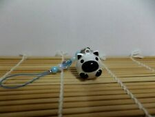 Neon Metal Bell Pig Boar Cell Phone Strap Charm Beads Blue