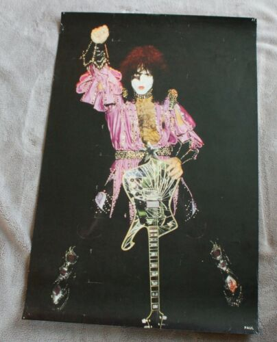 KISS 1979 Star Child Paul Stanley Raised Fist Dynasty Roman Guitar Poster VGEX