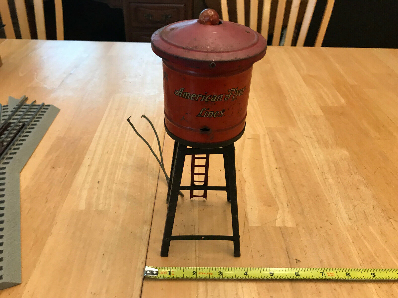 American Flyer LIne Red Metal Tinplate LIGHTED 2020 Water Tower Light WORKS LotA
