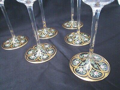 Josephinenhütte 6 Stängel Gläser mit Email und Goldmalerei um 1900