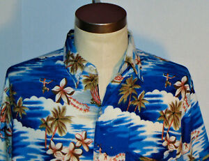 Herren-Vintage-Rayon-Hawaii-Shirt-Tropical-Island-Muster-Palmen-Tasche-L
