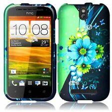 For Cricket HTC ONE SV HARD Protector Case Snap On Phone Cover Blue Green Flower