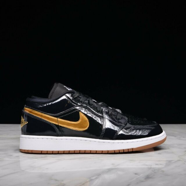 a09ead44085864 Nike Air Jordan 1 Retro Low OG Black Metallic Gold Gum White Patent Leather  Sz 9 for sale online
