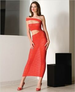 Sexy-Red-One-Piece-Cut-Out-Bow-Lace-Long-Gown-One-Size-Music-Legs-3234